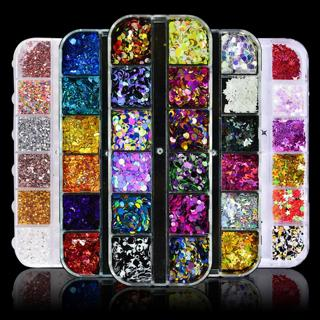 1 Set Holo 3D Nail Art Glitter Sequins Flakes Slice Multi Shape Round/Heart/Star/Butterfly Spangle
