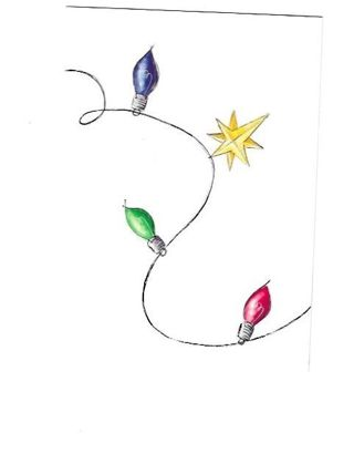 Christmas Card Unused With Envelope Christmas Lights