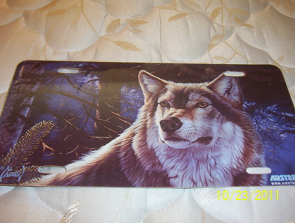 Wolf License Plate plastic