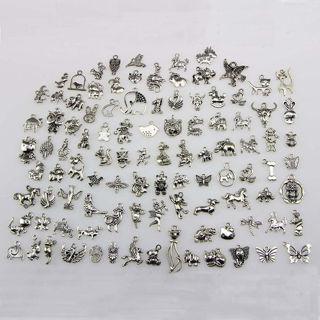 [GIN FOR FREE SHIPPING] 100 Bulk Mixed Tibetan Silver Charm Pendants Beads DIY Jewelry