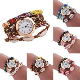 Fashion Shell Decor DIY Braided Bracelet Analog Quartz Wrist Watches