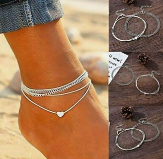 Fashion Love Heart Ankle Bracelet Foot Chain 925 Silver Womens Beach Anklet