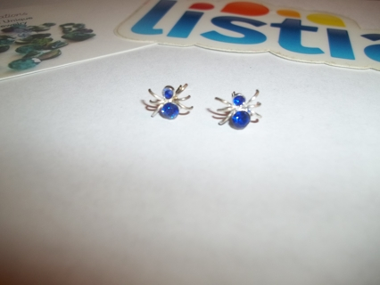 NEW WITH ISSUES NO REFUND~SPIDER Earrings W/Blue CZ Stones 925 Posts
