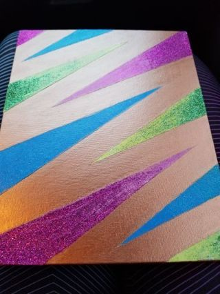Glitter/Abstract like painting on canvas board w/ Free shipping