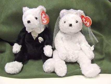 92d27033c3b Free  TY Original Beanie Babies Bride and Groom Bear lot of 2 ...