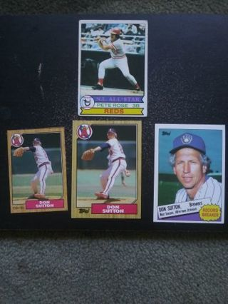 Pete Rose & Don Sutton (HOF)(Reds, Angels & Brewers)(MLB)