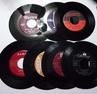 Set/Lot of 7 45rpms-Sensations,Ray Charles,Fontane Sisters,Heartbeats,Amigos,Shirley Lee,Crew-Cuts