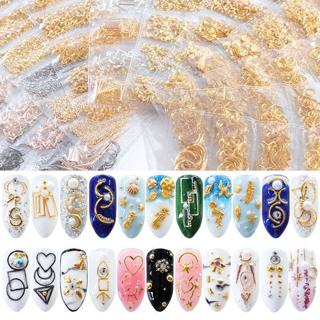 Mixed 3D Hollow Metal Frame Nail Art Decoration Gold Nail Rivet Studs Manicure