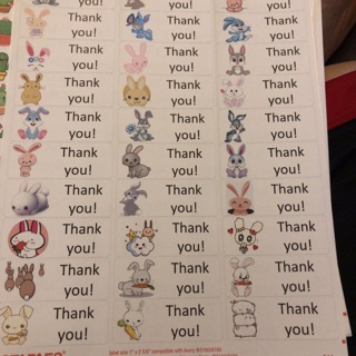 Bunny thank you Labels