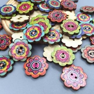 50PCs Wooden Buttons 2Holes Flower DIY Sewing Scrapbooking Craft 19mm