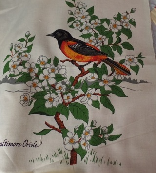 Baltimore Oriole Fabric Block to Quilt and/or Frame, 100% Cotton, 10-1/2 x 12 - APA-111