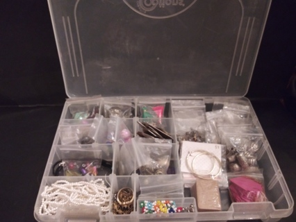 **ULTIMATE JEWELRY/CRAFT STORAGE CONTAINER BOX  WITH LOADS OF JEWELRY/CRAFT ITEMS INSIDE**