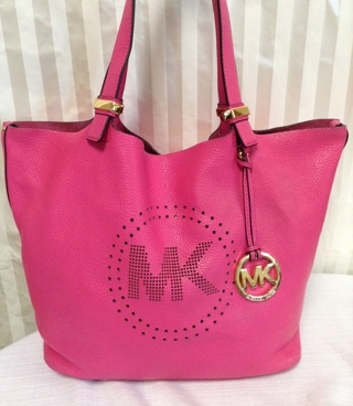 0fd1c510219b Free  Michael Kors Hot Pink Leather Colgate Grab Bag Tote GIN BONUS ...