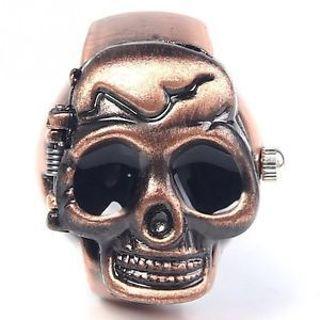 Fashion Skull Gift Punk Party Man Quartz Clamshell Ring Finger Watch Design