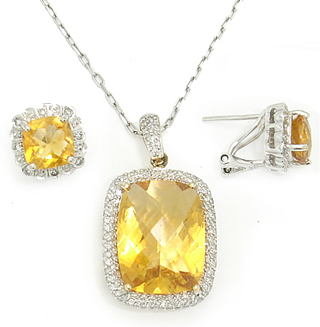 HAND MADE GENUINE DIAMOND,CITRINE &14 KARAT GOLD PENDANT OR EARRINGS WITH APPRAISALS YOUR CHOICE!!