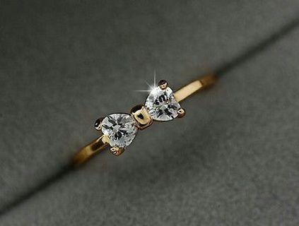 Ring Crystal 18K Gold Plated Finger Bow Wedding engagement Zircon Ring