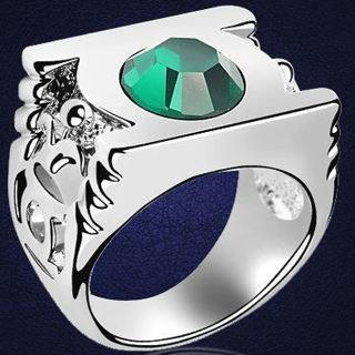 NEW Green Lantern Ring Stone Crystal of Justice Silver Movie Jewelry Accessories FREE SHIPPING