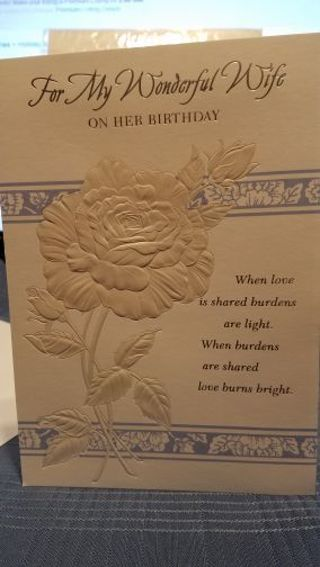 """""""FOR MY WONDERFUL WIFE ON HER BIRTHDAY"""" CARD W/ ENVELOPE"""