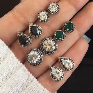 10 Pcs/set Women's Fashion Bohemian Vintage Crystal Geometric Round Earrings Set Wedding