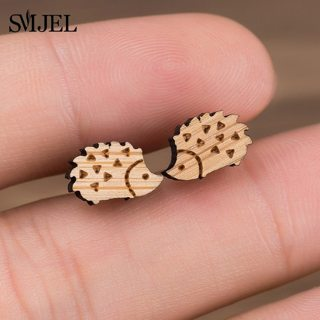 SMJEL Lovely Hedgehog Earrings Wooden Animal Ear Earring Stud for Women Girls Fashion Earing Jewelry