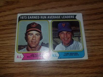 1974 Topps Baseball Jim Palmer/Tom Seaver #206 ERA leaders 1973,VG condition,Free Shipping!