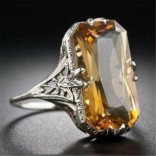 Vintage Women 925 Sliver Ring Citrine Natural Party Wedding Engagement Size 6-