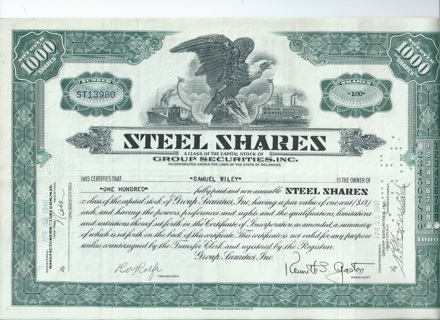 Steel Shares Mutual Fund stock certificate 1940 issued cancelled