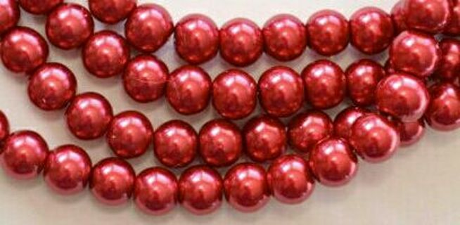 Last 4 red glass pearls beads