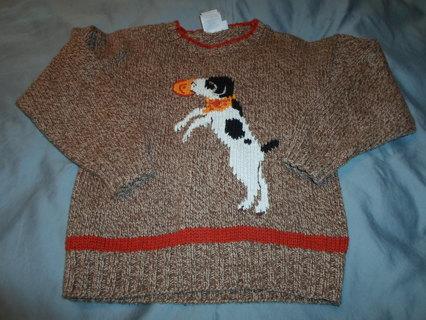 Free Marika Hahn Knit Sweater With Puppy Dog Boys Size 5 Boys