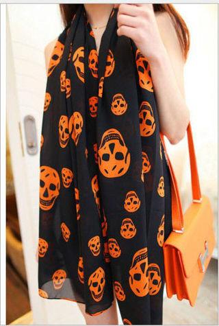Long Chiffon Skull Orange/Black Scarf