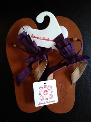 New Hanna Anderson Fringe Flip Flops Size 2-3