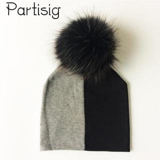 Baby Hats Cotton Patchwork Pompom Hat For Boys And Girls Winter Cap With Pompom Faux Fur Kids Caps
