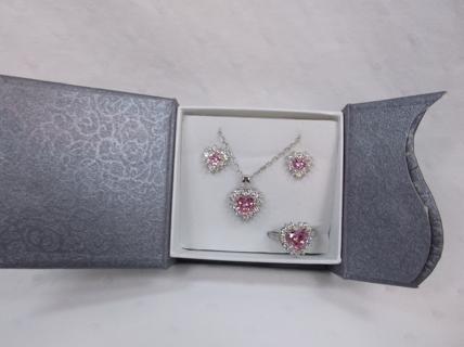 Cute Pink Heart Set - Lightly Tarnishing