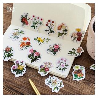 46 Pcs/Set Retro Beautiful Flower Paper Sticker Decoration DIY Handmade Arts Craft Sticker