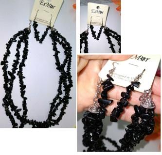 Esmor Designer Black Necklace & Earrings Set