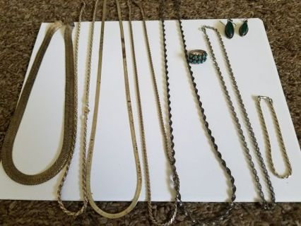 Sterling silver lot! ALL WEARABLE BEAUTIFUL PIECES! 6 Necklaces, 1 bracelet, 1 ring, and 1 earrings