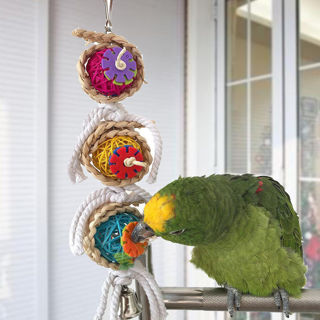 New Bird Chew Bite Toys Bell Swing Cage Hanging Cockatiel Parakeet Toy