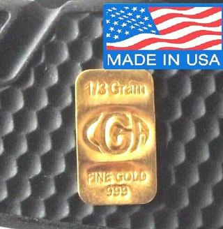 1 /3 GRAM GOLD OF 24K PREMIUM CGA BULLION BAR PURE 999.9 FINE CERTIFIED INGOT !