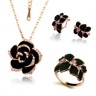 Rose Flower Enamel Jewelry Sets