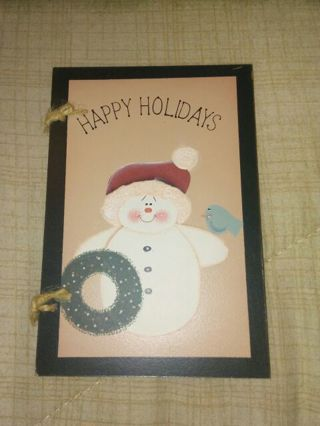 Set of 3 Wooden Christmas Cards. Free Shipping, GIN