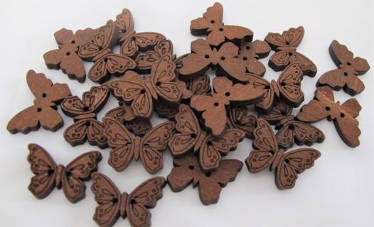 26 Wood Butterfly Buttens