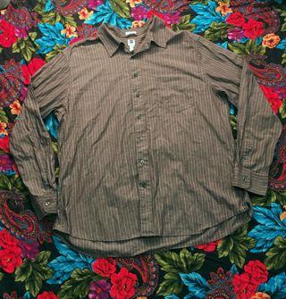 Nice THE GAP Shirt Men's Button Up Top Grey with light blue stripe trim