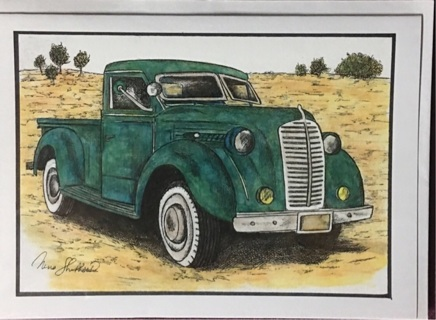 "GREEN 1940's TRUCK  - 5 x 7"" art card by artist Nina Struthers - GIN ONLY"
