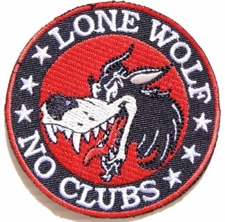 NEW Lone Wolf No Clubs Biker Red Background Iron on Embroidered Patch Easy Transfer FREE SHIPPING