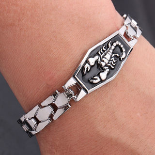 [GIN FOR FREE SHIPPING] Fashion Men Stainless Steel Scorpion Motorcycle Chain Bangle Bracelet