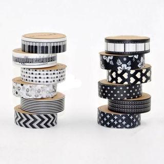 5Pcs/Set 1.5cm x 10M DIY Paper Sticky Tape Adhensive Crafts Sticker Decor Washi