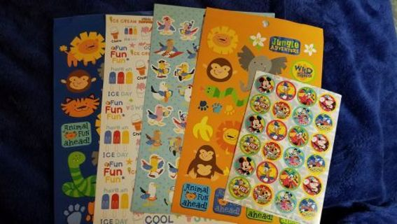 ❤❤5 FULL SHEETS OF STICKERSICE CREAM❤MICKEY MOUSEANIMALS❤❤FREE SHIPPING