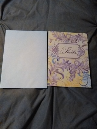 Cute Thank You Card with Envelope -- NEW!