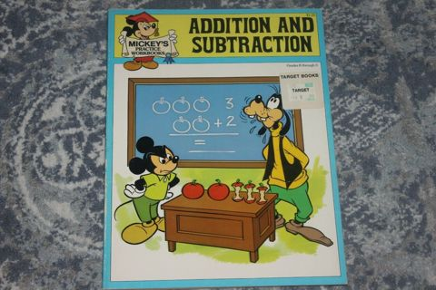 Mickey's Practice Workbooks 1988 Addition and Subtraction NEVER USED! Goofy -------------