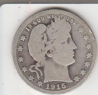 1915 Silver Barber Quarter